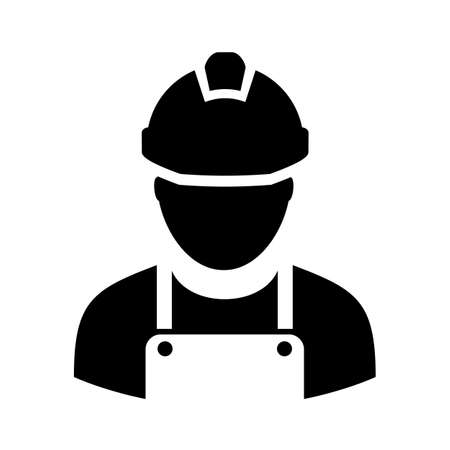 car: Worker with hard hat vector icon