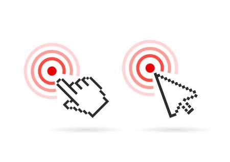 buy button: Hand arrow cursor vector icon set Illustration