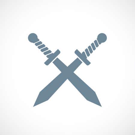 Crossed swords vector icon Illustration