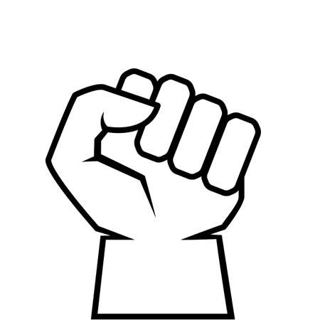 Human clenched fist outline icon, revolt concept