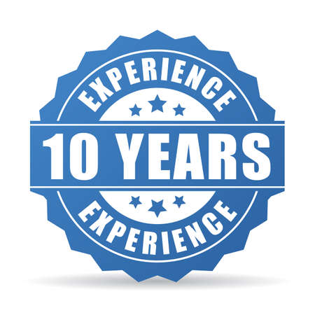 10 years experience vector icon Illustration