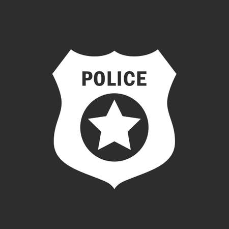 star background: Police badge vector icon Illustration