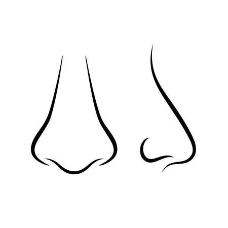rape: Icono de la nariz humana, vista frontal y lateral Vectores