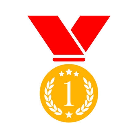Number one gold medal vector icon
