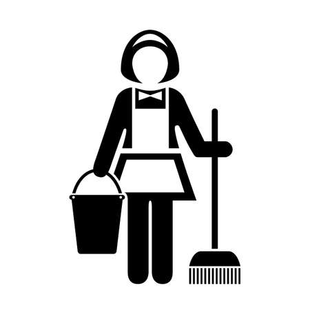 Maid cleaner woman vector icon