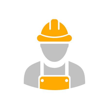 Builder workman icon with yellow helmet