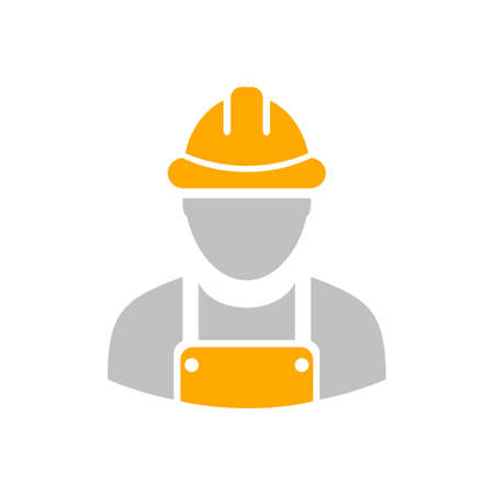 Builder workman icon with yellow helmet