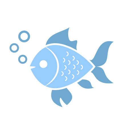 colors: Aquatic fish vector icon Illustration