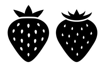 leaf: Strawberry silhouette vector icon