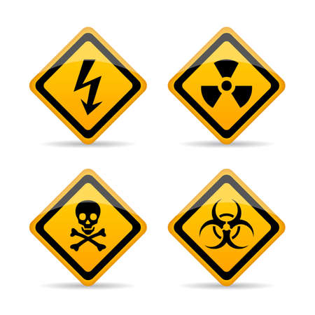 Danger warning vector sign set