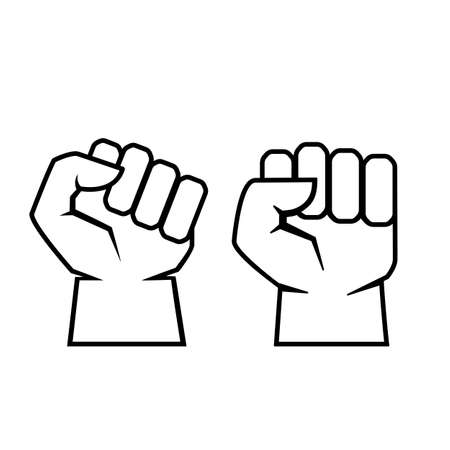 mortal: Two fist outline vector icon