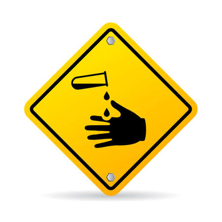 hazardous material: Corrosive chemicals danger warning sign