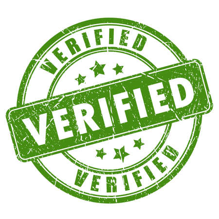 verifying: Green verified rubber stamp