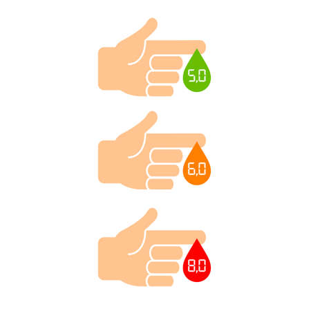 Sugar level in blood icons set