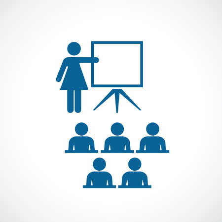 school class: Teacher and class room vector icon Illustration