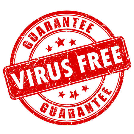 protect: Virus free software vector stamp Illustration
