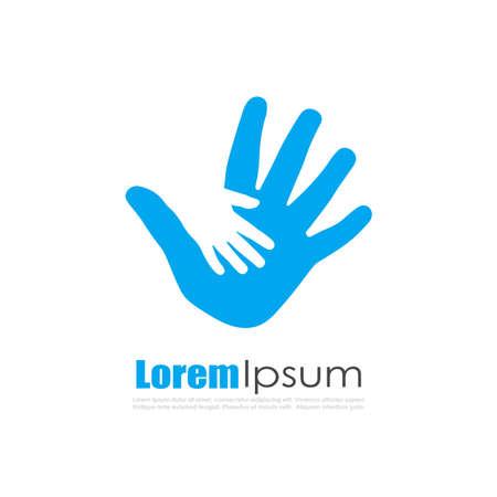 parental love: Child protection vector logo Illustration