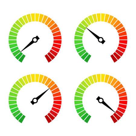 Ronde snelheid vooruitgang balk vector pictogram set