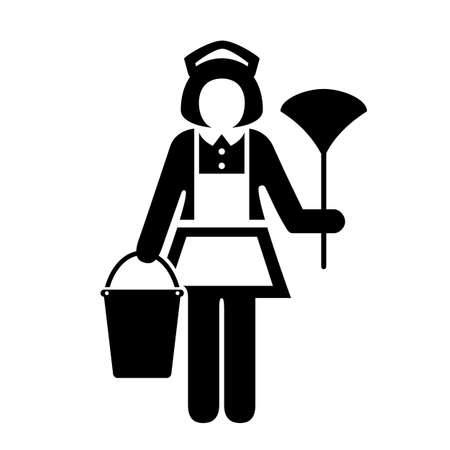 hotel staff: Room maid cleaner vector icon Illustration