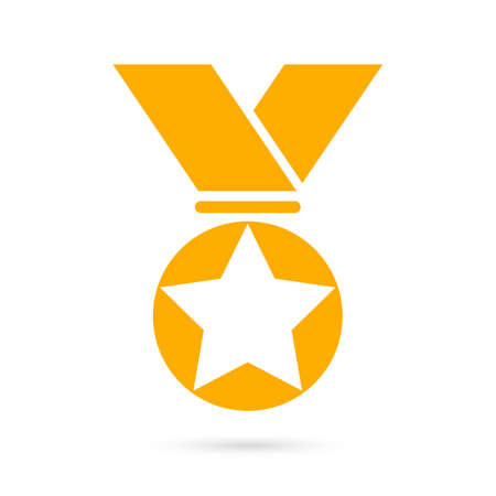 ribbon: Gold award medal icon Illustration