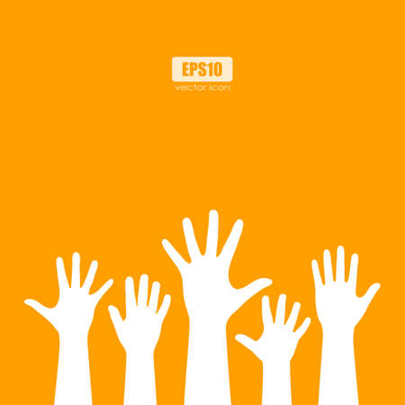 crowd happy people: Raised human hands silhouettes vector poster Illustration