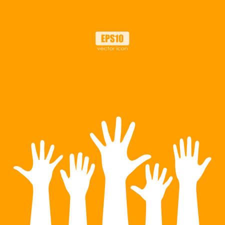 Raised manos humanas siluetas vector póster Ilustración de vector