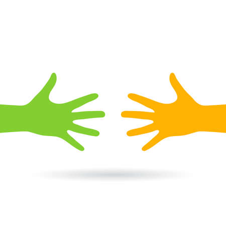 Two reaching hands vector icon