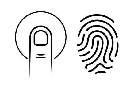 hand print: Human finger print vector icon Illustration