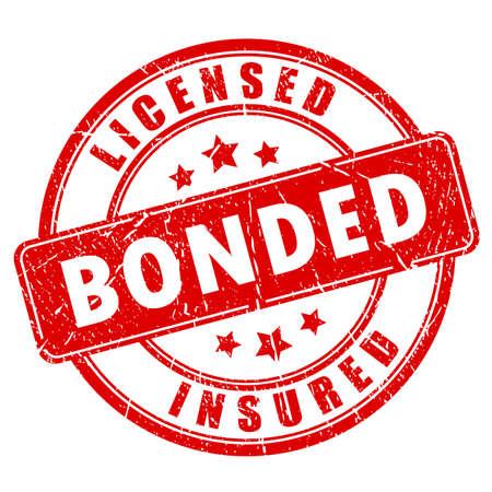 Red business stamp licensed bonded insured