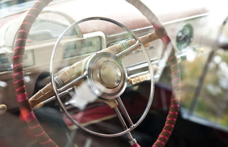 salon: Old retro cars steering wheel