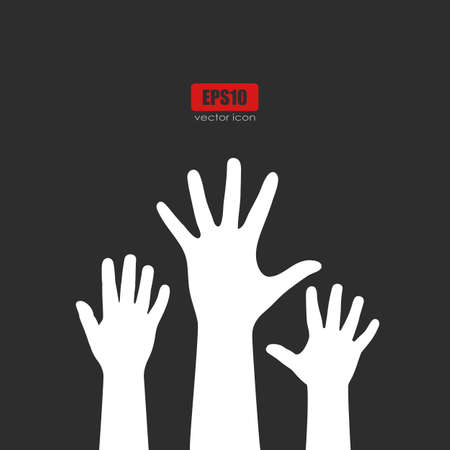 Raised human hands over black Illustration