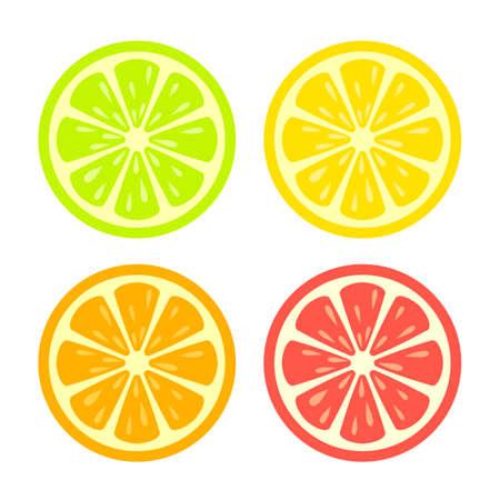 Colorful citrus slice icon set Illustration