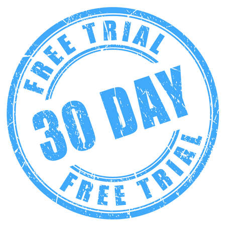 30 days free trial ink round stamp Ilustrace