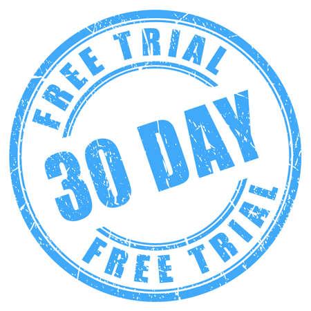 30 days free trial ink round stamp Иллюстрация