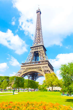 Eiffel Tower and blue sky photo