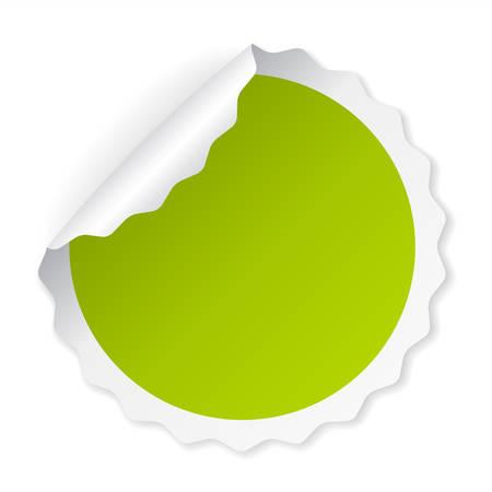 Autocollant de vecteur en papier à papier enroulé vert Illustration