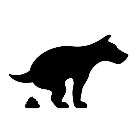 Dog pooping vector silhouette icon