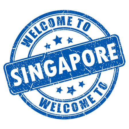 round logo: Welcome to Singapore rubber stamp