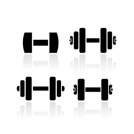 Dumbbells vector icon set