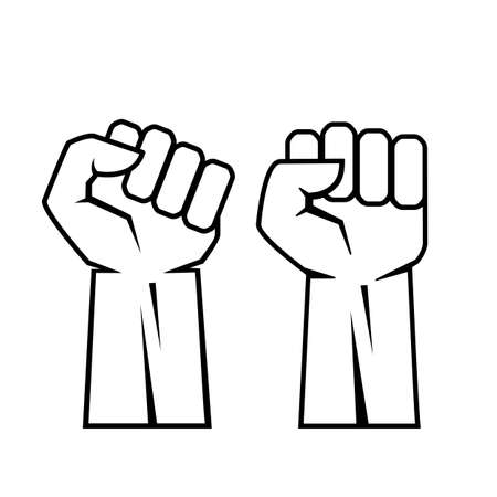 Outline raised fist hands vector icon Vectores