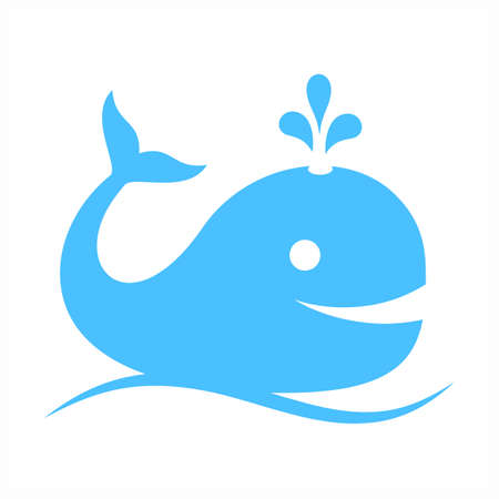 ocean waves: Blue whale vector icon