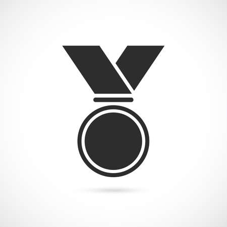 round logo: Medal with ribbon vector icon