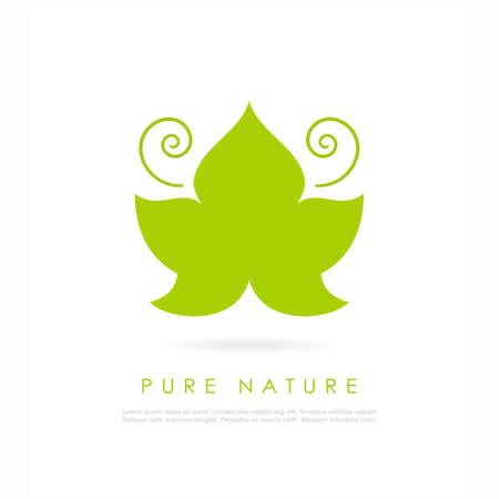 Logotipo de vetor de folha verde de videira Foto de archivo - 79096947