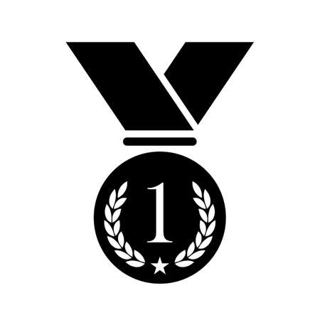 gold: Number one medal vector icon Illustration