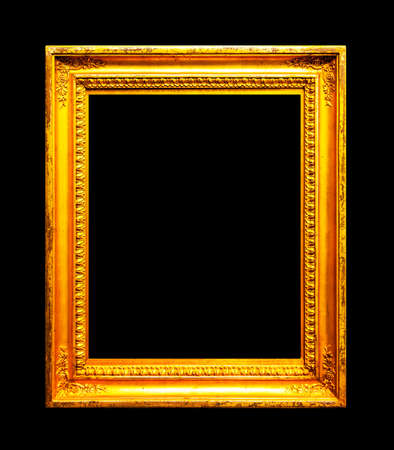 Old gold frame isolated on black background
