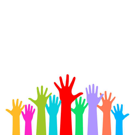 raise the thumb: Many raised hands on white background Illustration