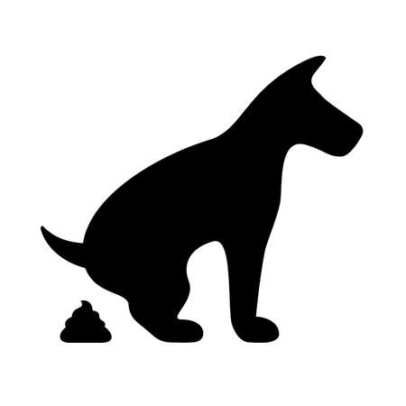 Dog pooping vector symbol