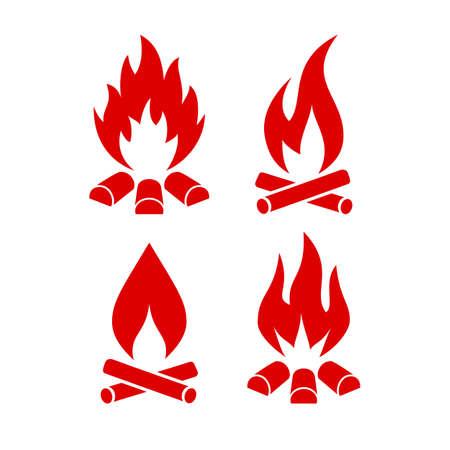 Fire vector icon set Illustration