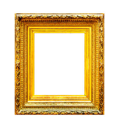 Ornate gold wood frame isolated on white background