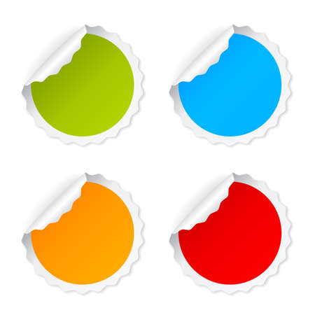 Blank round stickers vector set